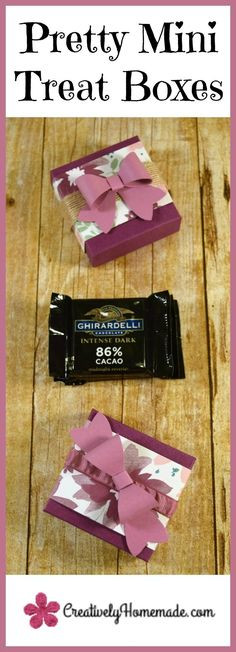 Ghirardelli treat holders | mini treat boxes made with the Stampin Up Envelope Punch Board | birthday party favors| DIY shower favors