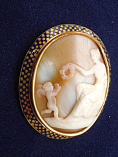 Cameo Cupid and Aphrodite Antique Brooch