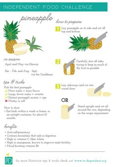 Food challenge: Pineapple - Infographic on how to prepare and choose the perfect pineapple. Healthy Food Choices, Healthy Recipes, Healthy Foods, Fast Foods, Healthy Drinks, Quinoa, Fruit Facts, Food Facts, Crockpot