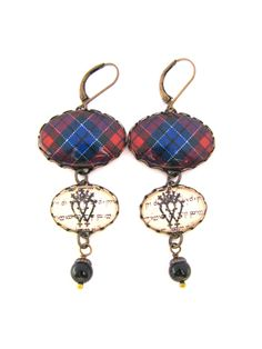 Scottish Tartan Jewelry - Ancient Romance Series - Patterson Clan Tartan Earrings w/Luckenbooth Charms & Mystic Black Swarovski Crystals by DivaDesignsInc on Etsy