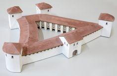 spätantikes Kastell (ca. 375 n. Chr.), M=1:200, Dauerausstellung im Römermuseum Kastell Boiotro der Stadt Passau, 2013
