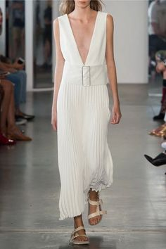 Dion Lee - Pleated Piqué Maxi Dress - Ivory - UK14