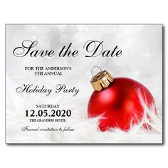 Personalized Christmas Party Save The Date Postcard. Matching invitations and RSVP cards are available here: http://www.christmas-party-invitations.com