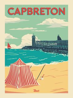 Marcel Biarritz is passionate about travelling and art. He crosses time and borders while preserving their soul and their share of the dream. Marcel, Road Trip France, Tourism Poster, Travel Ads, Ville France, Vintage Travel Posters, Vintage Images, Illustrations Posters, Poster Prints
