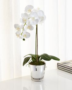 Orchids in Mirrored Glass Faux-Floral Arrangement