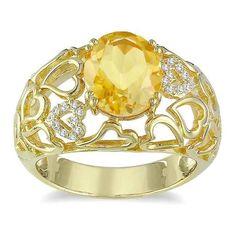 Miadora Silver Citrine and Diamond Accent Ring