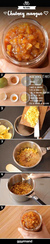 On récapitule : 1.Éplucher la mangue et découper la chair en dés. 2.Mettre dans un récipient la mangue avec la cassonade, le curcuma, la cannelle et le gingembre. 3.Mélanger et laisser reposer 2 heures. 4.Dans une casserole, ajouter le vinaigre, l'ail, l'oignon et le sel. 5.Laisser cuire à feu doux 2h30 en mélangeant de temps en temps. 6.Stériliser des bocaux en les plongeant 5 minutes dans l'eau bouillante. 7.Laisser reposer le chutney puis garnir les pots, les fermer hermétiquement.