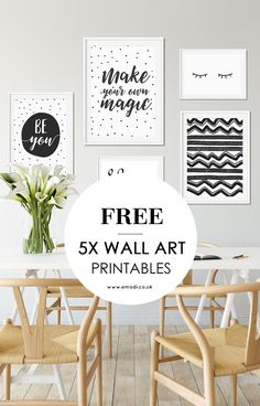 Print your wall art yourself. Get 5x free printables for your gallery wall