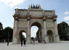In this photo you can see the Arc de Triomphe du Carrousel that can be found between the Tuilleries Gardens and the Louvre Museum, showing the arch which is not normally as heard of in Paris.  Want to learn more? Go to www.eutouring.com