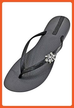 Grey & Black Ipanema Star Style Strap Flip Flops Size 6 - Sandals for women (*Amazon Partner-Link)