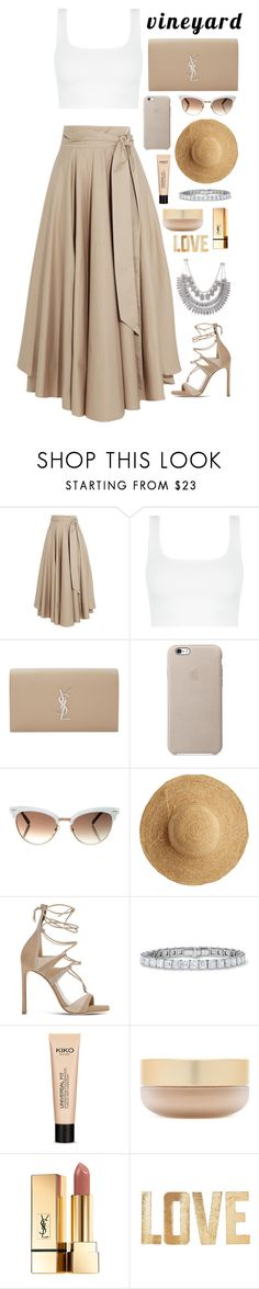 """Untitled #350"" by savkcollins ❤ liked on Polyvore featuring TIBI, Yves Saint Laurent, Gucci, Flora Bella, Stuart Weitzman, Universal, Eve Lom, PBteen, napa and winerywedding"