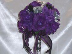 Wedding Bridal Bouquet Round Purple Silver Black Silk Flower 21 pc