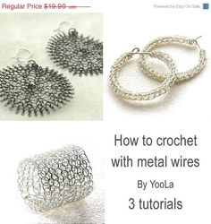 Make crocheted wire jewelry -Ring, sunflowers and hoops PDF tutorials How to crochet with metal wires. $16.92, via Etsy.