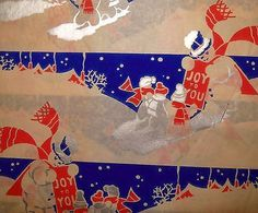 Vintage 1940's Christmas Wrapping Paper Snowman in Red, White and Blue (11/24/2013)