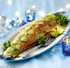 Poached whole salmon with dill and citrus dressing