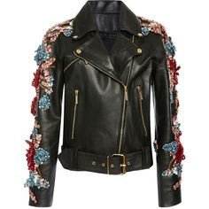 Elie Saab Embellished Leather Jacket ($6,400) ❤ liked on Polyvore featuring outerwear, jackets, casacos, elie saab, leather jacket, zip front jacket, embroidered leather jacket and embellished jacket