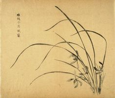"""""""Orchids in Wind"""", Four Flowers at right, from the Volume on Orchids - from: The Treatise on Calligraphy and Painting of the Ten Bamboo Studio - Chao Tzu-Ang (Meng-Fu), Hu Cheng-Yen (Yueh tsung) Chinese Brush, Chinese Art, Japanese Prints, Japanese Art, Orchid Drawing, Chinese Embroidery, Art And Craft Design, Chinese Symbols, Wild Orchid"""