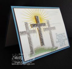 Handmade Easter Card with Stampin' Up! Blessed by God http://www.stampingsmiles.com. On a hill far away stood the old rugged cross. Learn what connection my tiny town of only 2500 has to the writer, George Bennard, of The Old Rugged Cross gospel hymn.