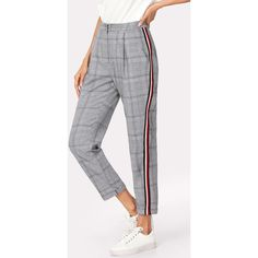 SheIn(sheinside) Contrast Tape Side Plaid Pants (€16) ❤ liked on Polyvore featuring black and white, tartan plaid pants, plaid trousers, tartan trousers, tartan pants and plaid pants