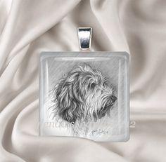 PBGV Dog Fine Art Drawing on a Glass Pendant by glendaharlan, $20.00