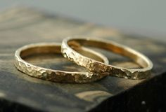 Gold Stacking Rings- 14k Gold, Hammered Finish / Specimental Design - Specimental Custom Raw Diamond and Rough Gem Jewelry