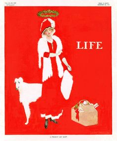 """""""A Present Day Saint"""" ~ Coles Phillips fade-away girl Christmas cover for Life, December 22, 1910"""