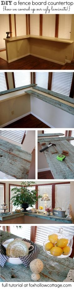 DIY repurposed wood countertop --Super cheap (sometimes free!) -- Full tutorial at www.foxhollowcottage.com #diy #countertop