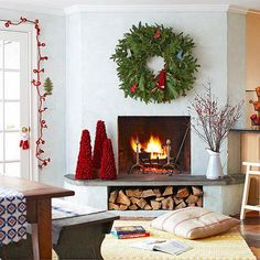 Like the trees and berry bushes on hearth 34 Beautiful Christmas Decoration Ideas