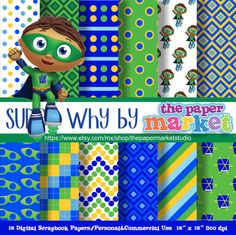 SUPER WHY Digital Papers Polka Dot Backgrounds Characters Lines Invitations Printables