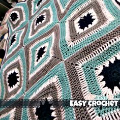 Crafts: Easy Crochet Patterns – Speedy Granny Throw My finished crotchet afghan -- I like the colors. Love Crochet, Crochet Motif, Crochet Hooks, Crochet Stitches, Knit Crochet, Crochet Blankets, Crochet Afghans, Crochet Things, Tunisian Crochet