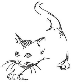 Barely-there lines define an adorable kitten. Let this design play and hide on…jwt Cat Embroidery, Embroidery Patterns, Machine Embroidery, Cat Stretching, Arte Tribal, Urban Threads, Cat Quilt, Cat Crafts, Cat Drawing