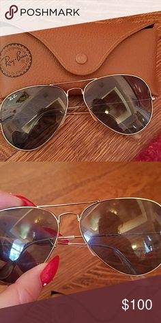 Rayban aviators gently used rayban sunglasses w/case Ray-Ban Accessories Sunglasses