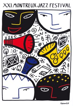 Poster by Francois Boisrond (b. Festival Jazz, Montreux Jazz Festival, Festival Posters, Rock Poster, Jazz Poster, Blue Poster, Plakat Design, Music Artwork, Music Wall