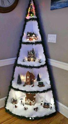 Christmas Tree Village Display, Corner Christmas Tree, Creative Christmas Trees, Easy Christmas Decorations, Christmas Art, Christmas Projects, Christmas Holidays, Christmas Ornaments, Simple Christmas