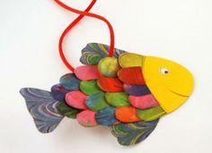 Bunten Fisch basteln