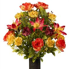 Sunset Orange Rose with Stargazer Lily, featuring the Stay-In-The-Vase Design(C) Flower Holder (LG1929) >>> Quickly view this special  product, click the image (This is an amazon affiliate link. I may earn commission from it)
