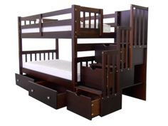 Bunk Bed Twin over Twin Stairway Cappuccino with Drawers