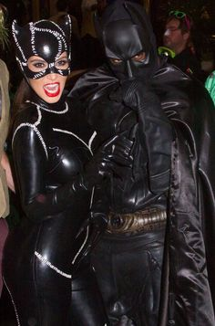 For the couple that wants to wear all black outfits. Halloween couples costume inspiration: Kim Kardashian and Kanye West as Catwoman and Batman.