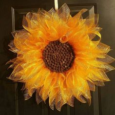 Yellow Sunflower Wreath, Deco Mesh Sunflower Wreath, Summer Wreath, Front Door Flower Wreath Make this using sweetgum balls (from the gum trees) for the center. Deco Mesh Wreaths, Fall Wreaths, Door Wreaths, Ribbon Wreaths, Fall Ribbon Wreath, Fall Deco Mesh, Poinsettia Wreath, Christmas Mesh Wreaths, Mesh Ribbon