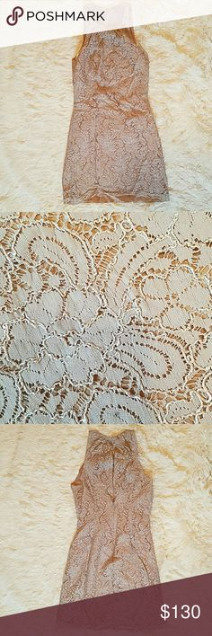 Lace Dress Beautiful Tan Lace Dress Very classy and Elegant A great summer or fall dress Only worn once. In perfect condition! wattersandwatters Dresses Midi