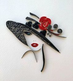 Elegant floppy hat wall art decor, Lady in hat minimalists art, Quilled woman's portrait, Black and Paper Quilling Patterns, Quilled Paper Art, Quilling Paper Craft, Paper Crafts, Quilling Comb, Neli Quilling, Paper Quilling For Beginners, Quilling Techniques, Quiling Paper