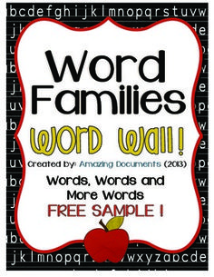 Word Families Check out the FULL version at http://www.teacherspayteachers.com/Product/Amazing-Word-Families-Word-Wall-561760Thank you for choosing Amazing Documents!Word families are groups of words that have a common feature or pattern - they have some of the same combinations of letters in them and a similar sound.