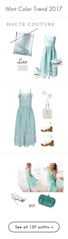"""""""Mint Color Trend 2017"""" by yours-styling-best-friend ❤ liked on Polyvore featuring Perseverance London, Pollini, Lulu Guinness, Clutch, dress, lace, sandals, eyelet, The Sak and rag & bone"""