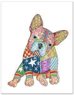 Star Brite french bulldog watercolor art print por marleyungaro
