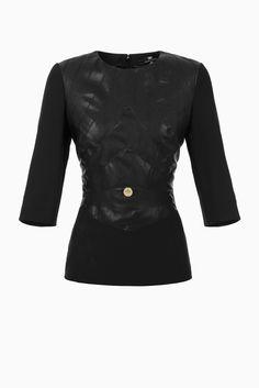 Maglia inserti pelle sintetica - Ultimi arrivi su Digital Store ELISABETTA FRANCHI - la Boutique online ufficiale