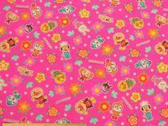 スモック、スクールバッグ、きんちゃく袋など、入園入学グッズの制作に!「アンパンマン」コットンオックスプリント(ローズピンク) 105cm巾 綿100% - そーいんぐ・すていしょんコミニカ