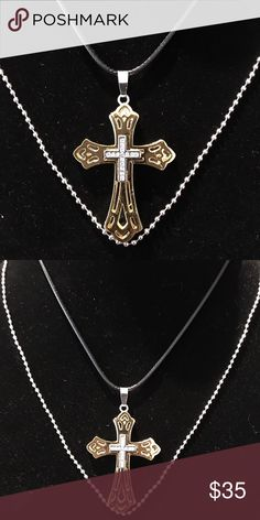"""Stunning Unisex Cross Necklace This beautiful Cross is absolutely stunning at 2.5"""" in height. Colors: Yellow Gold Plated, Stainless Steel and offers beautiful crystals. This Cross comes packaged in an adorable Gift Box along with two chains.  Very nice gift to give or receive. Bundle Discount. Military Discount Available. Jewelry Necklaces"""