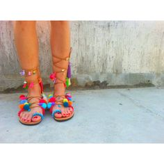 RiRiPoM, Tie Up Gladiator Leather Sandals, Greek Leather Sandals, Boho... (€149) via Polyvore featuring shoes, sandals, beaded gladiator sandals, beaded sandals, multi color sandals, pom pom sandals and multi colored gladiator sandals
