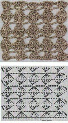 Crochet World added a new photo. Crochet Twist, Love Crochet, Crochet Flowers, Knit Crochet, Hexagon Crochet Pattern, Crochet Diagram, Crochet Patterns, Crochet Stitches Chart, Crochet Motifs