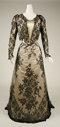 <3 Vintage Fashion: 1890s [{Evening Dress} DATE: 1898-99 CULTURE: American MEDIUM: n/a CREDIT: The Metropolitan Museum of Art, Gift of Alan Wolfe, 1954.]